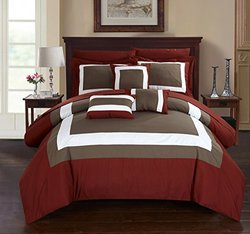 Chic Home 10 Piece Duke Patchwork Color Block Complete Bed In a Bag Comforter Set of Sheets, Queen, Brick