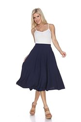 White Mark Women's Flared Midi Skirt with Pockets - Navy - Size: Small