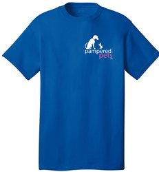 Pampered Pets Logo on Front T-Shirt - Royal Blue - Size: Medium