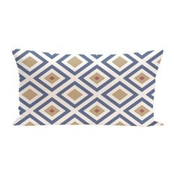 E By Design Diamond Mayhem Geometric Print Outdoor Seat Cushion - Cadet