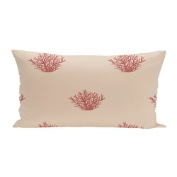 E By Design Coral Coastal Print Outdoor Seat Cushion - Burnt