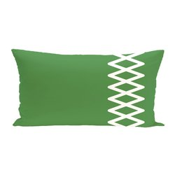 E By Design Lace Up Geometric Print Outdoor Seat Cushion - Leaf Green