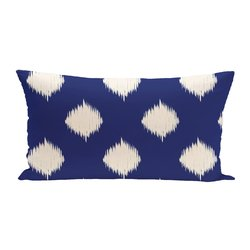 E By Design Ikat Dot Geometric Print Outdoor Seat Cushion - Blue Suede