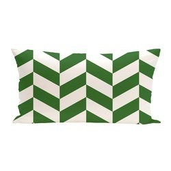 E By Design Zigzag Jag Geometric Print Outdoor Seat Cushion - Leaf
