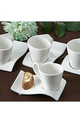 "Artisano Designs ""Swish"" Cup and Biscotti Plates - Set of 4"