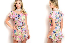 Women's Floral-Print Rompers - Pink Multi - Size: Large