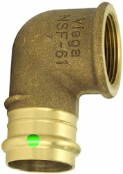 Viega 77552 ProPress Bronze 90-Degree Elbow with Female 1-Inch by 1-Inch P x Female NPT, 5-Pack