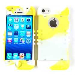 Cell Armor Rocker Silicone Skin Case for iPhone 5 - Yellow/White Mixture