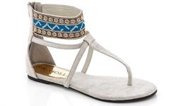 Rasolli Women's Gladiator Sandal - Grey - Size: 11