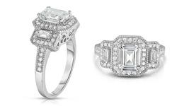 18K Diamond Cut Emerald Cubic Zirconia Ring - W Gold - Size: 6
