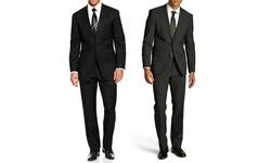 Braveman Men's Classic Fit 2 Pcs Suit - Black/Charcoal - Size: 38R x 32W
