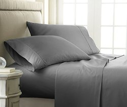 ienjoy Home 4 Piece Home Collection Premium Embossed Checker Design Bed Sheet Set, Queen, Gray