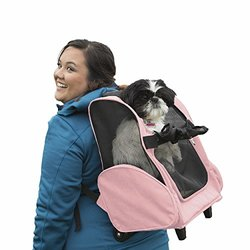 Pet Backpack-Roller Carrier: Pink