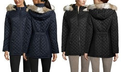 Laundry By Design Quilted Jacket with Faux Fur - Black - Size: X-Large