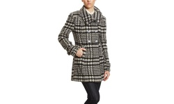 Steve Madden Double Breasted Wool Coat - Black/White - Size: Medium