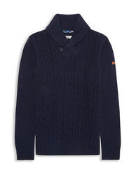 BEN SHERMAN Lambswool Blend Shawl Collar Sweater Navy