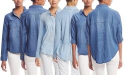 Chambrai Women's Long Sleeve Kaylee Tencel Shirt - Marine Light - Size: M