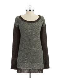 BCBG Women's Wool Tunic Sweater - Heather Charcoal - Size: One