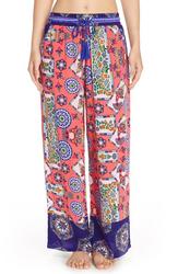 Bollydoll Print Palazzo Pajama Pants - Coral - Size: X-Large