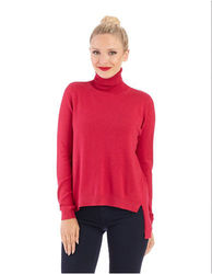 French Connection Women's Long Sleeve Turtleneck Sweater - Berry - Size: S