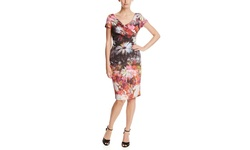 Adrianna Papell Cap Sleeve Blurred Floral Cocktail Dress - Pink - Size: 16