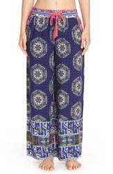 Bollydoll Print Palazzo Pajama Pants - Blue - Size: X-Large