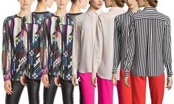 Trina Turk Striped Riley Shirt - Black/Ivory - Size: S