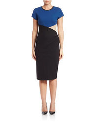 Anne Klein Women's Dress Cap Sleeve Colorblock Dress - Blue - Size: 4