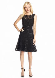 Ronni Nicole Lace and Sequin Fit and Flare Dress - Black - Size: 10