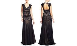 Sue Wong Women's Lace Drop Waist Gown - Black - Size: 14