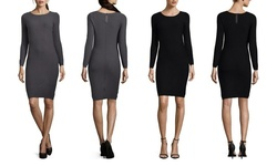 Marc New York Women's Solid Ribbed Sweater Dress - Black - Size: S