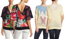Desigual Women's Short Sleeve Verano Top - Light Yellow - Size: L