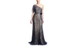 Basix Black Label Women's One Shoulder Beaded Gown - Beige/Navy - Size: 2