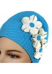 Luxury Divas Bubble Crepe Swim Cap with 3 White Flowers - Bl - Size:Adult