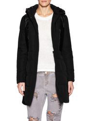 7 For All Mankind Women's Down Coat with Mixed Detail - Black - Size: L