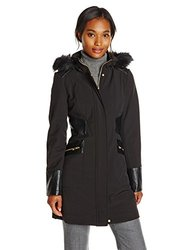 Via Spiga Women's Softshell Jacket with Hood - Black - Size: Large