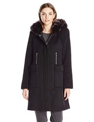 Dawn Levy 2 Lara Wool Coat With Faux Fur Collar - Black - Size: Medium