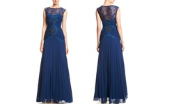 Sue Wong Women's Illusion Yoke Pleat Skirt Gown - Navy - Size: 10