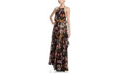 Olivaceous Women's Floral Print Maxi Dress - Black/Pink/Green - Size: M