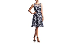 Chetta B. Women's Lace Fit & Flare Dress - Black/White - Size: 14