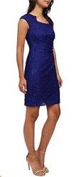 Tahari Arthur S. Levine Lace Overlay Sheath Dress - Sapphire - Size: 8
