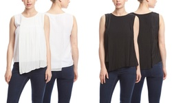 Shades of Grey Sleeveless Pleated Top - White - Size: Small