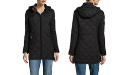 Weatherproof Women's Quilted Jacket with Faux Fur - Graphite - Size: XL