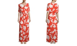 Ark & Co. Women's Short Sleeve Floral Maxi Dress - Orange - Size: Medium
