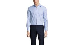 Vince Camuto Twill Check Slim Fit Dress Shirt: Blue/White - 15 / 32-33