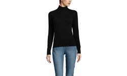 Forte Cashmere Women's Cashmere Rib Trim Turtleneck - Black - Size: XL