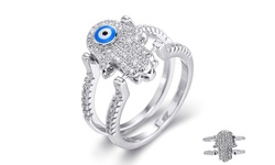 Evil Eye Women's Sterling Silver Reversible Hamsa Flip Ring - Size: 6