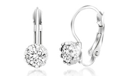 Crystal Halo Leverback Earrings with Swarovski Elements in 18K White Gold