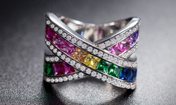 Women's 18K White Gold Plated Rainbow Crystal Swarovski Elements - Size: 7