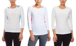 Vogo Women's Colorblock 3/4 Sleeve Active Top - White/Blue - Size: Small